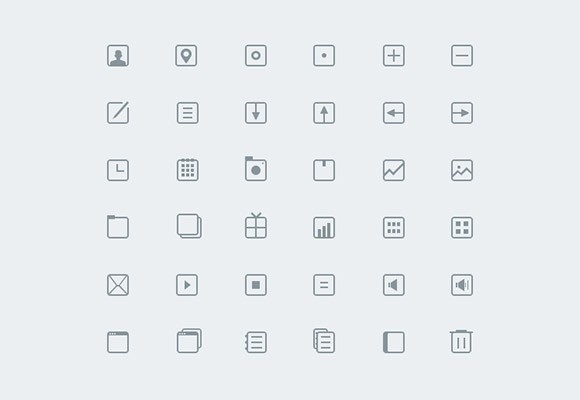36 thin icons PSD