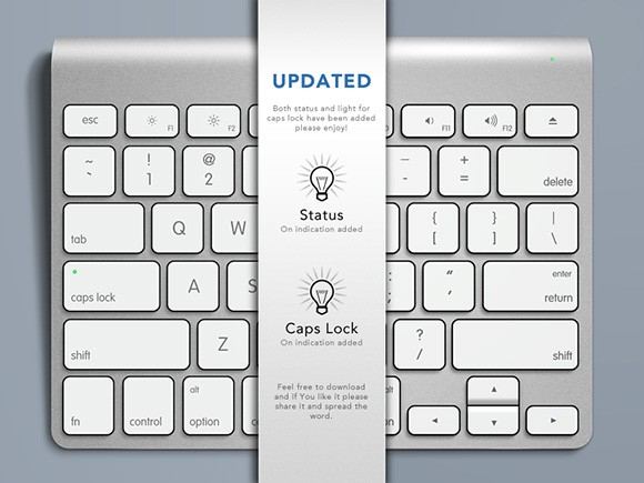 Apple keyboard PSD mockup #2