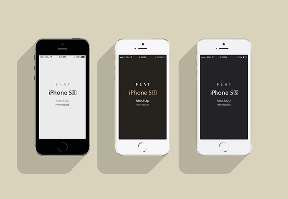 iPhone5S - Flat design mockup