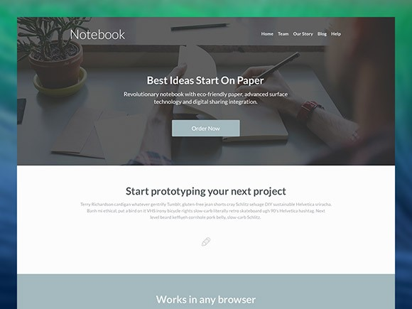 Notebook - Free Landing Page PSD Template
