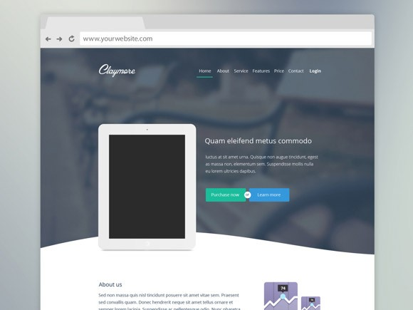 claymore - landing page for app presentation - freebiesbug, Powerpoint templates