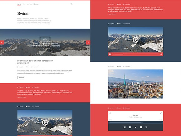 Swiss - Free PSD Tumblr template
