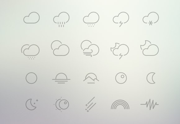 61 Outlined weather icons PSD