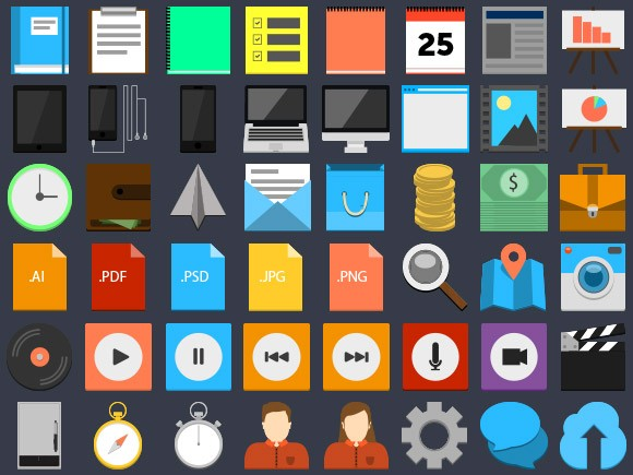 75 flat-style PSD icons