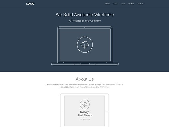 Web wireframe layout PSD - Freebiesbug