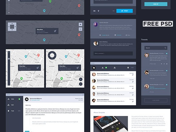 Dark UI kit - PSD by Creativedash