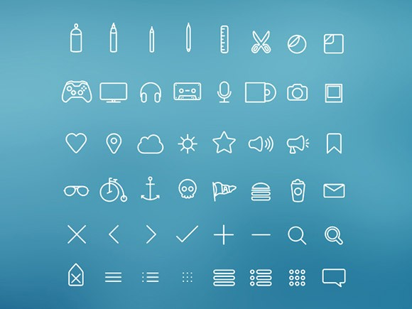 Hangloose - 50 PSD thin icons