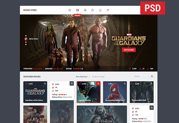 Movie store - PSD template - Freebiesbug