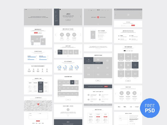 One-page website wireframes PSD