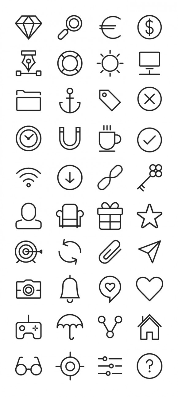 40 free stroke icons from Sympletts pack detailed view