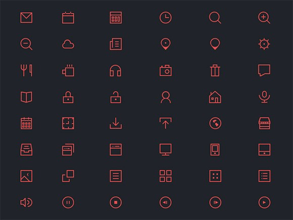 48 thin icons PSD