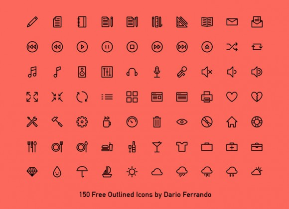 150 outlined icons - PSD AI SVG Webfont