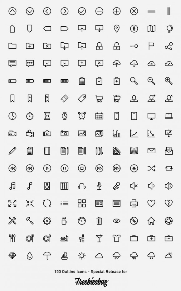 150 outlined icons - PSD AI SVG Webfont detailed view