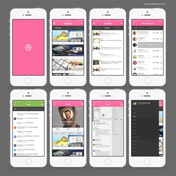 8 dribbble app screens psd freebiesbug for Blueprint app free