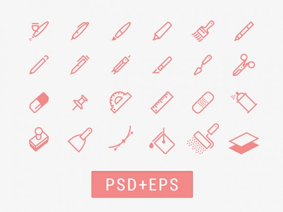 Drawing tools icons PSD