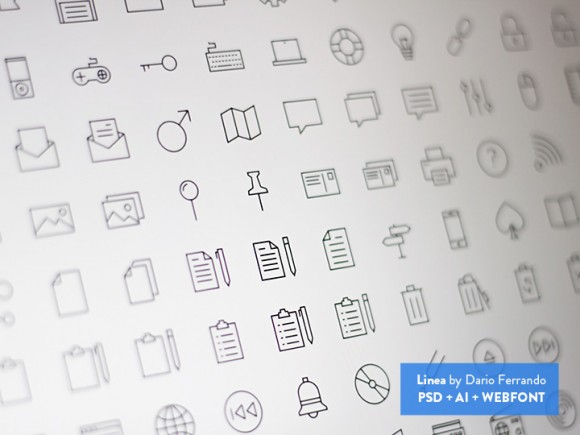 Linea - Line icon set (PSD + AI + Webfont) - Freebiesbug