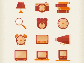 12 retro icons PSD