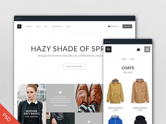 Free PSD eCommerce template
