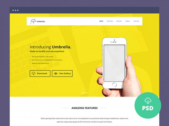 Umbrella - One Page Website Template - Freebiesbug