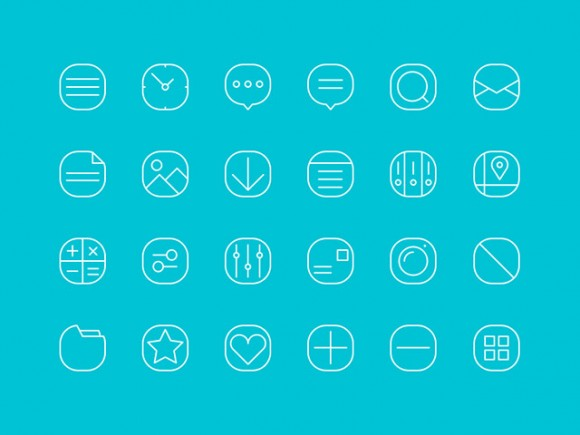24 simple line icons