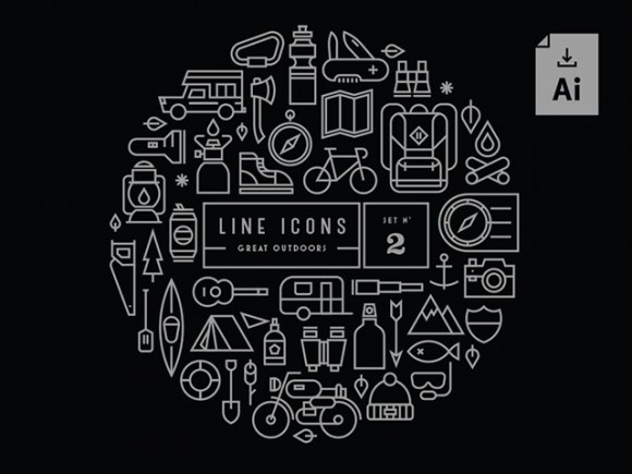 Gravual line icons – Set 2- Great Outdoors