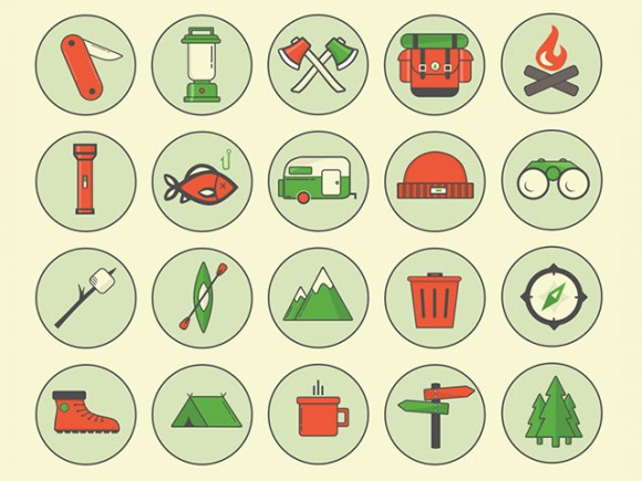 Camping outdoor icons - PSD