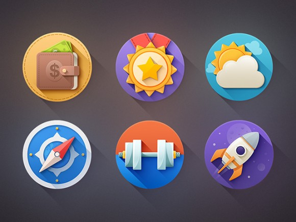 6 Flat icons with shadows PSD