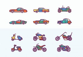 Retro vehicles icons AI