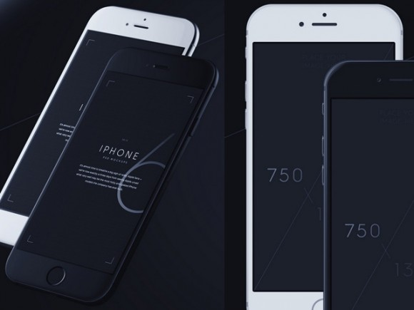iPhone 6 mockups - 3/4 + front views