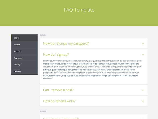 FAQ template - HTML - Freebiesbug