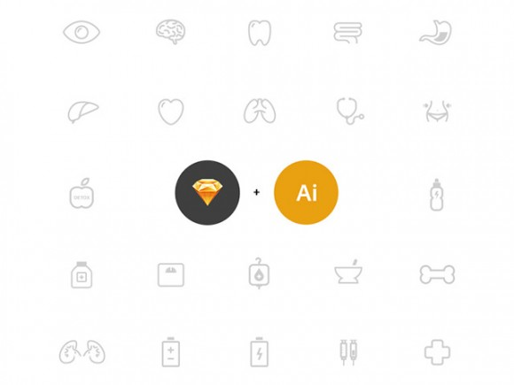 25 health icons - AI + Sketch