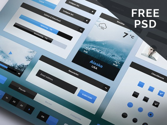 Free Winter UI kit – PSD download