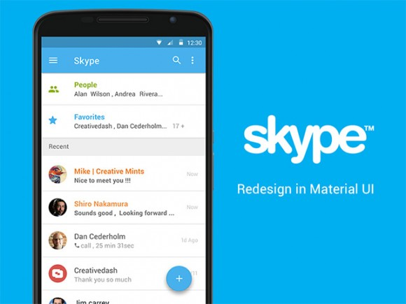 Skype app concept with Material UI