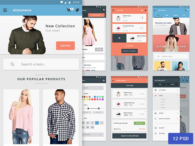 Materia - eCommerce app design - Freebiesbug