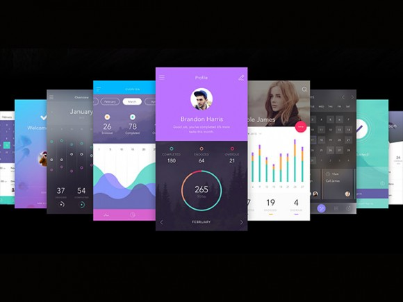 Free to-do app UI kit for Sketch and Photoshop