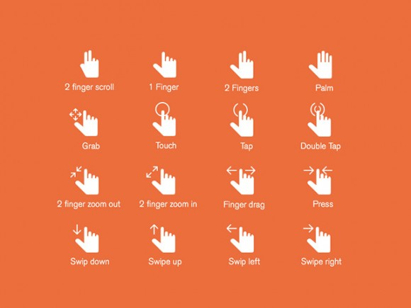 16 hand gestures icons