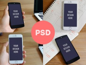iPhone 6 & Nexus 5 PSD mockups