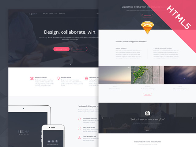 Sedna One page website template Freebiesbug