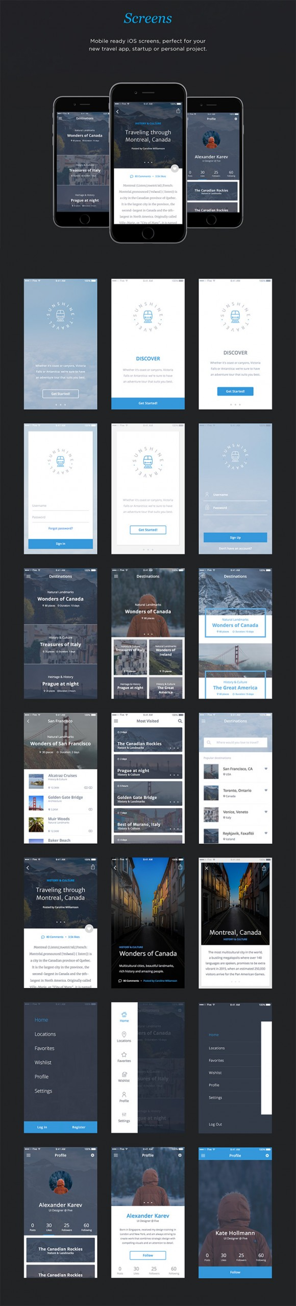 UI kit for travel apps - Detailed image