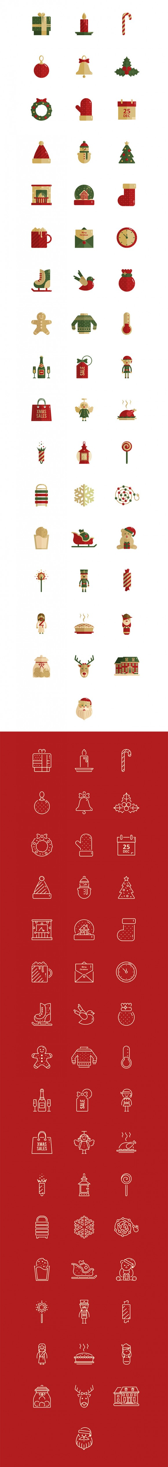 100 Christmas vector icons - Detailed image