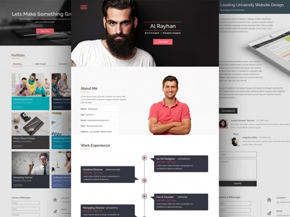 cv resume psd website template - Resume Web Template