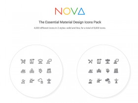 350 Free Material Design icons from Nova pack - Sketch freebie