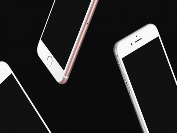 Floating iPhone mockups - Free PSD
