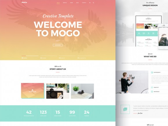 MoGo Free One Page PSD Template Freebiesbug - About page template