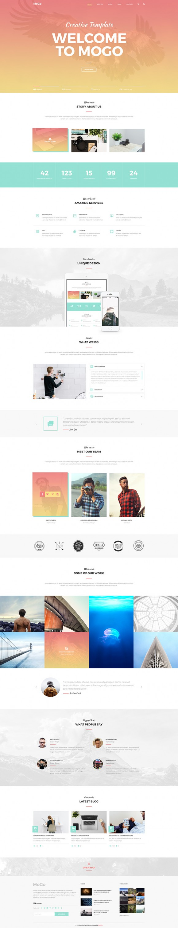 MoGo: Free one page PSD template - Freebiesbug