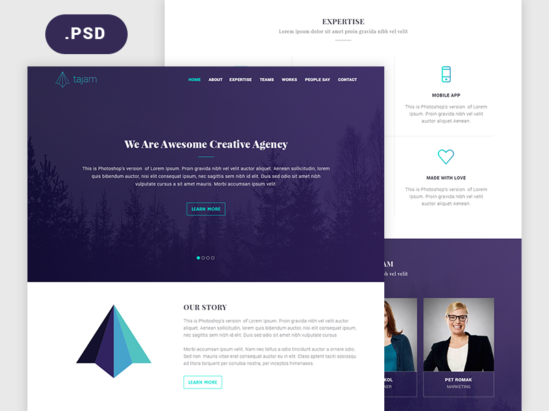 Tajam: PSD website template for agencies - Freebiesbug