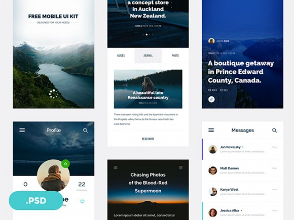 Ventas: Mobile UI kit for travel magazines