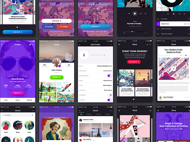Avital free ui kit for mobile apps freebiesbug for Blueprint app free