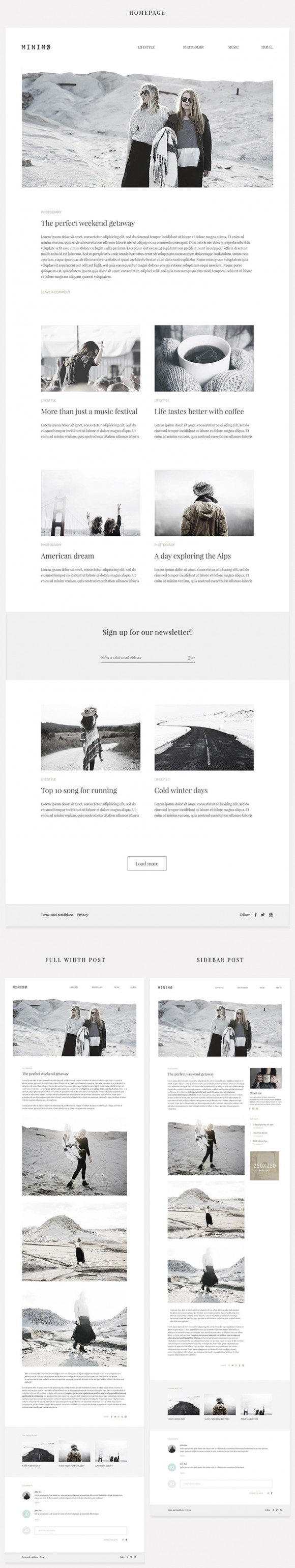 Minimo: Free PSD blog template (Full view)