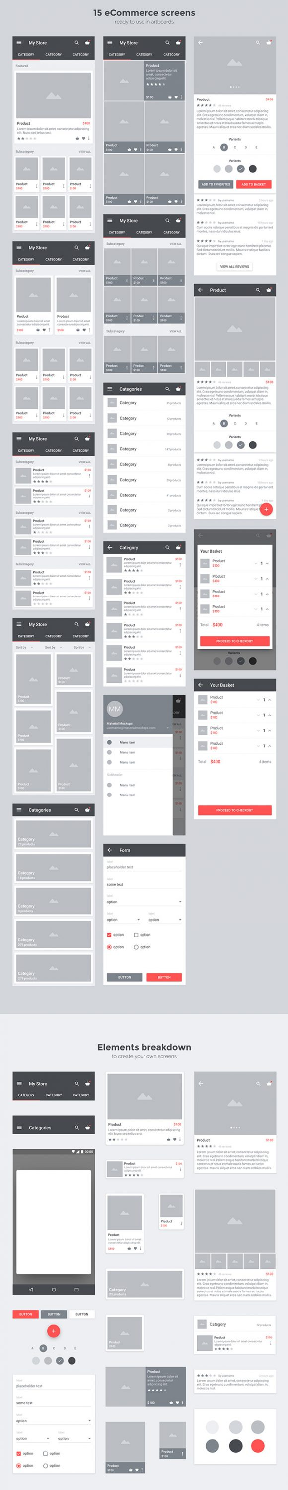 Carbon: Material UI kit - Full preview